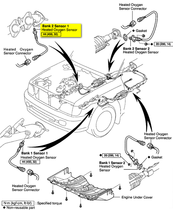 Heated Oxygen Sensor Bank 1 Location on 2005 toyota sienna engine diagram