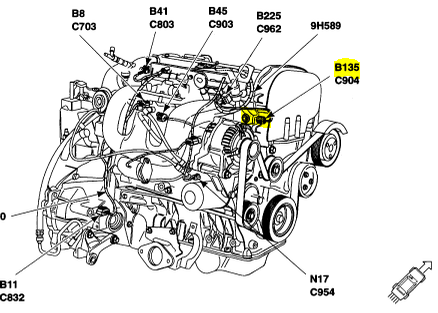 2006 Mazda 6 Engine Diagram additionally Mazda 1 6l Engine Diagram besides 2000 F150 Coolant Temp Sensor Location also  on 6w3w4 cannot locate coolant temperature sensor f150 4 2 v6
