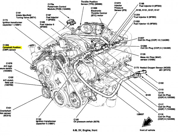 1289 Ford Escape Location Cylinder Head Temperature Sensor additionally Discussion T29896 ds721060 additionally Camshaft Crankshaft Sensor Location likewise Serpentine Belt Diagram 2008 Toyota Tundra V8 57 Liter Engine 07049 besides 1999 Ford F150 Engine Diagram. on ford 5 4 liter engine