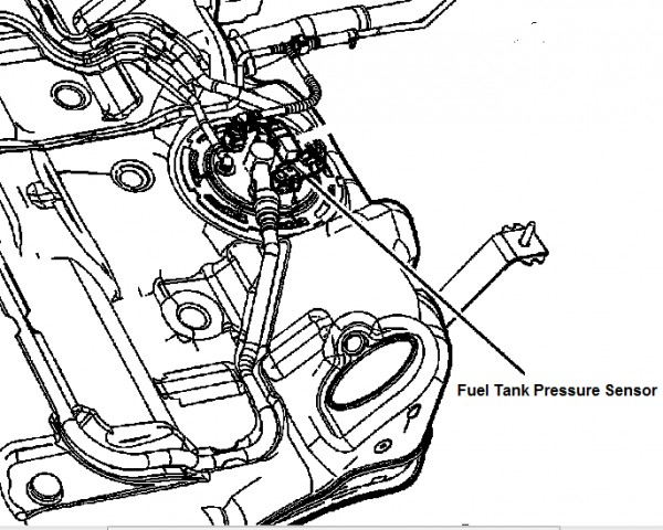 P0496 Chevrolet Where is the pressure sensor located on