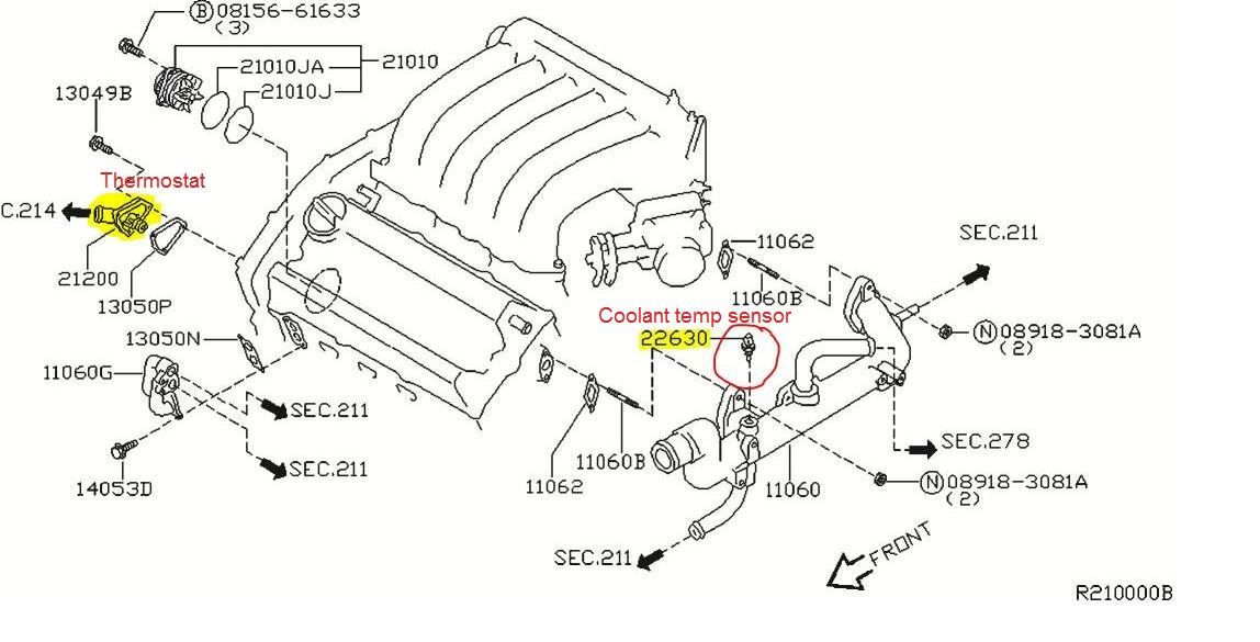 p0125 2004 nissan maxima engine coolant temperature sensor