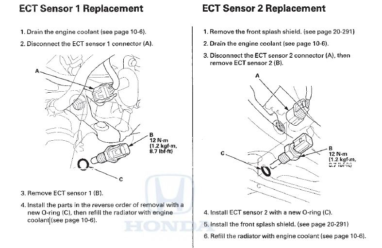 P0116 2010 Honda Accord Engine Coolant Temperature Sensor 1