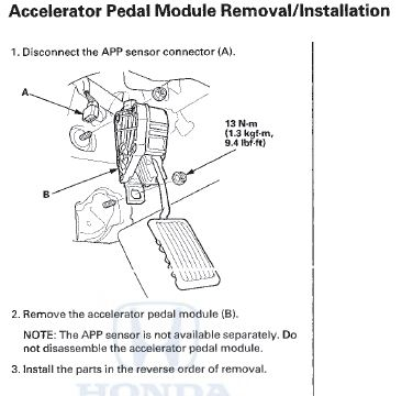 23031 p2122 2010 honda accord accelerator pedal position sensor 1 5R55E Transmission Wiring Diagram at bayanpartner.co