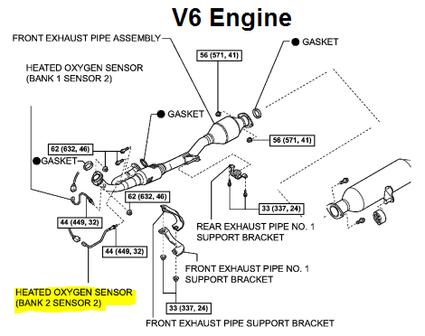 P0157 2009 TOYOTA CAMRY Oxygen Sensor Circuit Low Voltage Bank 2